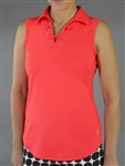 Jofit Lace Up Sleeveless Polo - Calypso