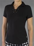 Jofit Lace Up Short Sleeve Polo - Black