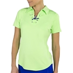 Jofit Lace Up Short Sleeve Polo - Honeydew