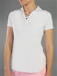 Jofit Lace Up Short Sleeve Polo - White