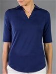 Jofit Scallop 1/2 Sleeve Polo - Blue Depth