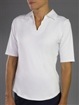 Jofit Scallop 1/2 Sleeve Polo - White