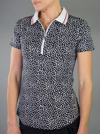 JoFit Ribbed Collar Short Sleeve Polo - Ink Spot