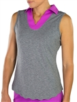 JoFit Scallop Sleeveless Graphite Polo