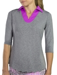JoFit Scallop 3/4 Sleeve Graphite Polo