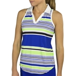 JoFit Tech Cut Away Sleeveless Polo - Mai Tai Stripe