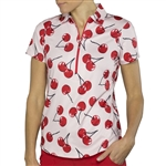 JoFit Printed Zip Polo - Cherry Print