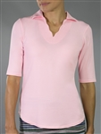 Jofit Scallop 1/2 Sleeve Begonia Pink Polo