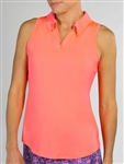 JoFit Tech Cut Away Sleeveless Polo - Flamingo