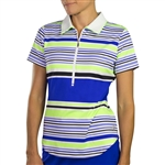 JoFit Short Sleeve Tipped Polo - Mai Tai Stripe