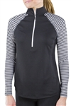 JoFit Brushed Long Sleeve Mock - Cabernet Stripe