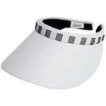 Glove It Slide On Golf Visor - White Bling Square Crystals