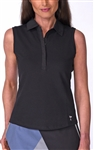 Golftini Classic Cotton Black Sleeveless Polo