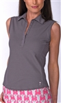 Golftini Classic Cotton Grey Sleeveless Polo