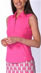 Golftini Classic Cotton Hot Pink Sleeveless Polo