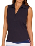 Golftini Classic Cotton Navy Sleeveless Polo