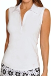 Golftini Classic Cotton White Sleeveless Polo