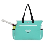 Ame & Lulu Crossed Racquet Tennis Court Bag - Aqua/Black