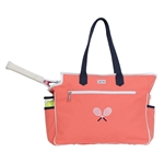 Ame & Lulu Crossed Racquet Tennis Court Bag - Coral/Navy