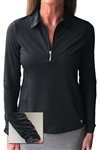 Golftini Long Sleeve Black Zip Tech Ruched Polo