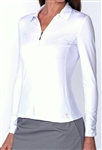 Golftini Long Sleeve White Zip Tech Ruched Polo