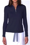 Golftini Long Sleeve Navy Zip Tech Ruched Polo