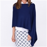 Golftini Cotton Cashmere Navy Poncho