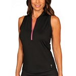 Golftini Racerback Zip Tech Polo - Black