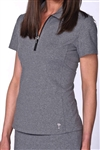 Golftini Short Sleeve Heather Grey Zip Tech Polo