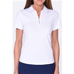 Golftini Short Sleeve Zip Tech Polo - White