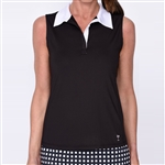 Golftini Black Sleeveless Contrast Tech Polo