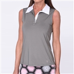 Golftini Grey Sleeveless Contrast Tech Polo
