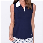 Golftini Navy Sleeveless Contrast Tech Polo