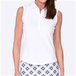 Golftini White Sleeveless Contrast Tech Polo
