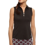 Golftini Black Sleeveless Zip Tech Polo