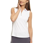 Golftini White Sleeveless Zip Tech Polo