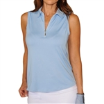 Golftini Light Blue Sleeveless Zip Tech Polo