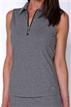 Golftini Sleeveless Heather Grey Zip Tech Polo