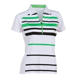 Nancy Lopez Shock White/Palm Sleeve Polo