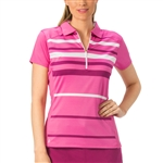 Nancy Lopez Shock White/Hot Pink Sleeve Polo