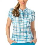 Nancy Lopez Scribble Blue Bird Short Sleeve Polo