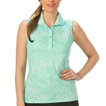 Nancy Lopez Palmy Sleeveless Convertible Mock - Aqua