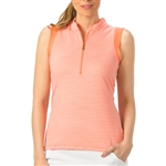Nancy Lopez Geo Sleeveless Convertible Mock - Tangerine