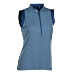Nancy Lopez Geo Sleeveless Convertible Mock - Indigo