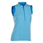 Nancy Lopez Geo Blue Bird Sleeveless Golf Polo