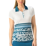Nancy Lopez Pretty Short Sleeve Polo - Indigo