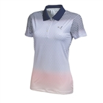 Puma Women's Chevron Faded Polo- Medieval Blue