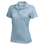 Puma Women's Snap Print Polo Golf Shirt- Clearwater