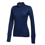 Puma Women's Solid 1/4 Zip Popover- Medieval Blue