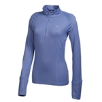 Puma Women's Solid 1/4 Zip Popover- Bleached Denim